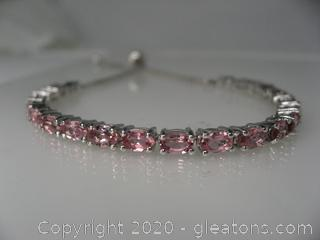 Sterling Silver Lab Created Pink Tourmaline Bracelet