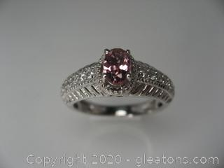Sterling Silver Lab Created Pink Tourmaline Ring