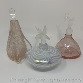 Glass Act Studio Dink/Humming Bird Perfume Bottles