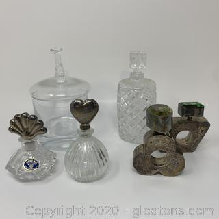 Collection of Vintage Lead Crystal ,Silver, Silver Perfume Bottles, Plate Trinkets