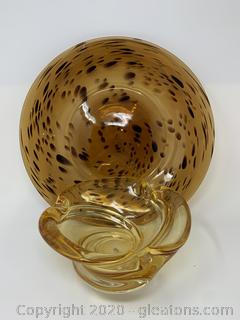 Decorative Amber Plate and Ash Tray