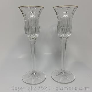 Set of 2 Cut Crystal Candle Stick Holders