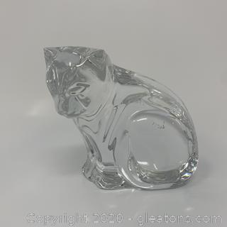 Waterford Crystal Cat Looking Down Paperweight
