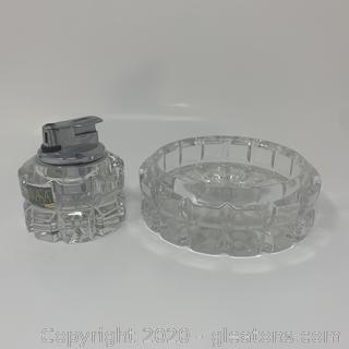 Vintage Lead Crystal Lighter & Ashtray