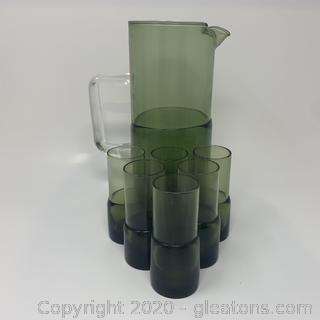Green Pitcher and Glasses Set