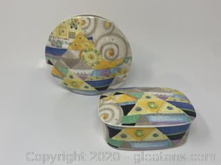 "Mikasa Bore China ""Jazz"" Trinket Box and Vase"