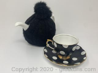 Royal Albert Blk/Wht Polka Dot Tea Set