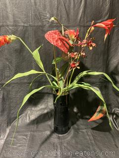 Floral Arrangement in Black Vase