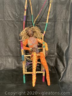 Handmade African Doll in Chair