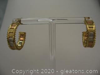 14kt Tri-Colored Hoop Earrings