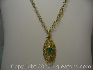 18kt Yellow Gold Emerald Necklace