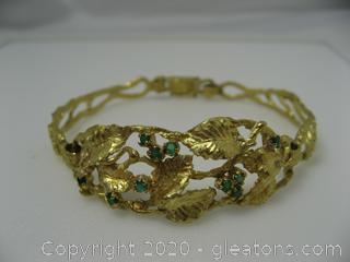 18kt Yellow Gold Emerald Bracelet