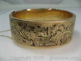 14kt Yellow Gold Ornate Hinged Bracelet