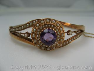 Rose Toned Amethyst and Pearl Bracelet