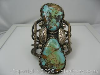 Large Sterling Silver Turquoise Cuff