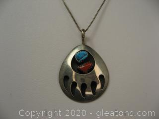 Turquoise & Coral Sterling Silver Pendant