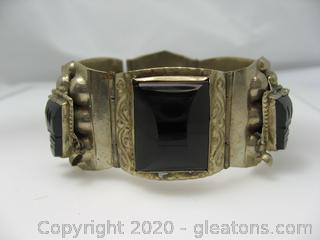 Sterling Silver Bracelet With Black Glass