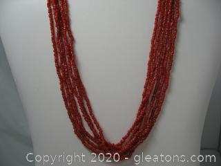 Multi Strand Coral Beaded Necklace