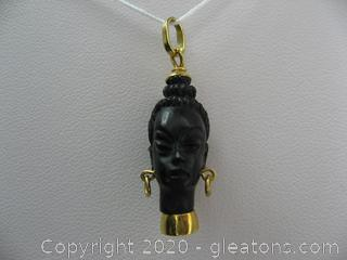 18kt Carved Black Ebony Pendant
