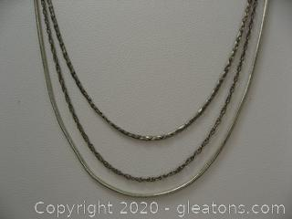 Lot Of 3 Silver Chains