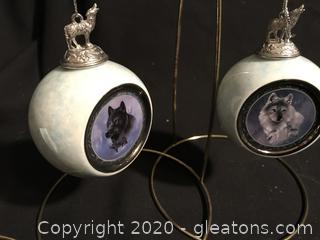 Danbury Mint 23K Gold ornament, 2 Bradford Exchange Wolves of the wild ornaments