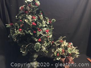 2 pots of Faux holly bushes
