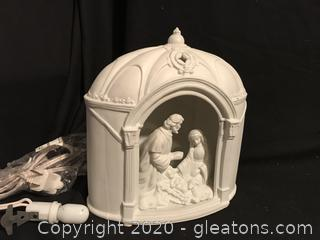 Holy Family Shadow box with light white Bisque