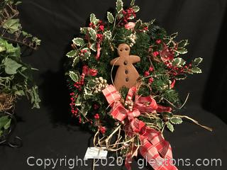 Gingerbread wreath and Basket of faux Ivey