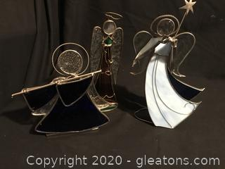 Three stained glass Angels
