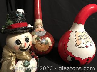 Hand painted Christmas Gourds