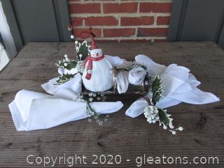 Dress Up the Table for Winter / 5 Napkin Rings / 5 White Napkin / 1 Silver Plate Cracker Holder and a Snowman