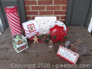 Bit of Christmas / Musical Ginger Bread House Snow Globe / Wire Basket / Gold Star PLate, Bowl & Napkins / Red Star Bowl / Kitchen Towels & Dish Cloth / Blown Glass Ginger Bread House Ornament / Crystal Bowl / Wooden Gingerbread Taster Plaque / 2 Wooden GingerBread Ornaments / Empty Red & White Wine Gift Tube