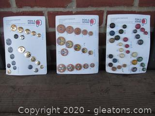 3 Vintage Carded Button Sets  From Germany