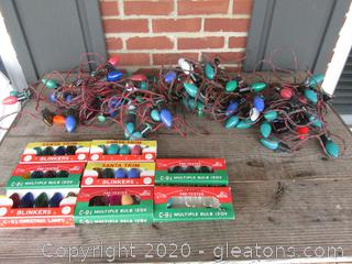 Vintage Christmas String Lights with Replace C-9 1/4 Bulb 120 V