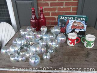 Shatterproof Iridescent Ball Covers for Christmas Light / 2 Red Flip Top Glass Bottle [Craft Beer Bottles] / 2 Snowman Hot Chocolate Mugs and Hard Back Book Santa's Twin by Dean Koontz