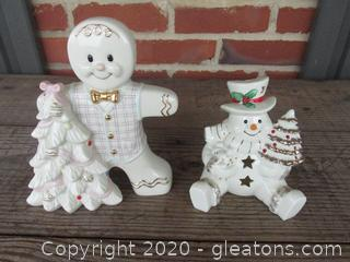 Lenox Gingerbread with Tree Figurine / Snowman Sitting Down with A Tree votive Candle Holder