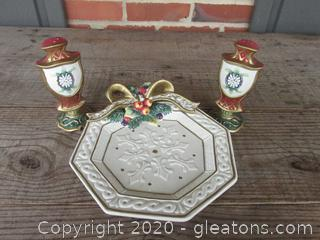 Fitz and Floyd Snowy Woods Octogan Plate 8 1/2 inches / Christmas Salt & Pepper Shakers 5 3/4 inches tall