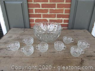Square Punch Bowl with 8 Cups