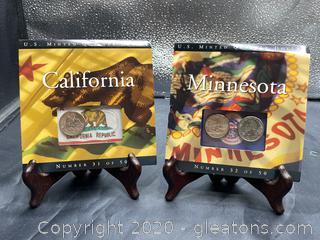 Set of 2 U.S. Minted Quarter Dollar Sets