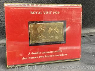 Royal Visit 1976 23K Gold Stamp