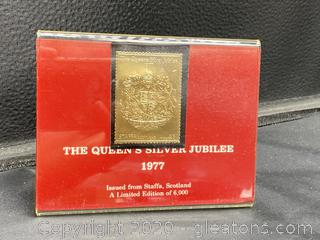 The Queen's Silver Jubilee 1977 23K Gold Stamp