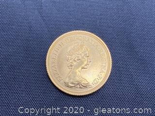 1976 Gold Sovereign-Elizabeth II Decimal Portrait