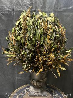 Dried Autumn Floral Arrangement In Aluminum Planter