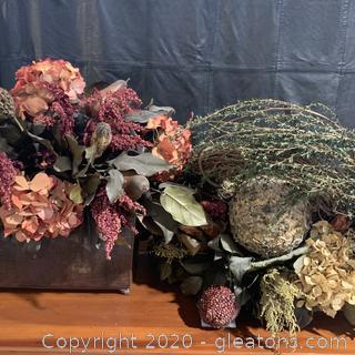 Pair Of Faux Potted Floral Arrangements