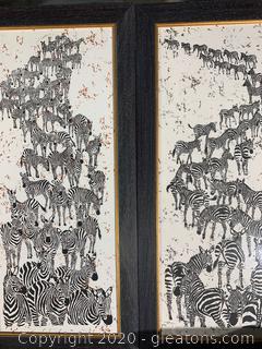 Framed Zebra Embroidery Set