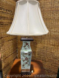 Tall Floral Porcelain Table Lamp
