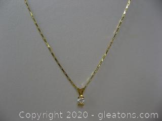 Appraised 14kt Yellow Gold Diamond Solitaire Necklace