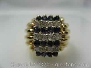 Appraised 14kt Yellow Gold Diamond and Sapphire Ring