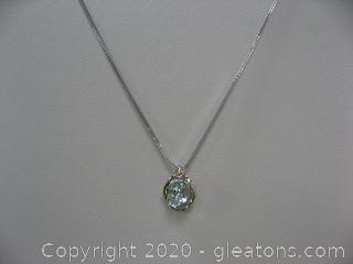 14kt White Aquamarine and Diamond Necklace