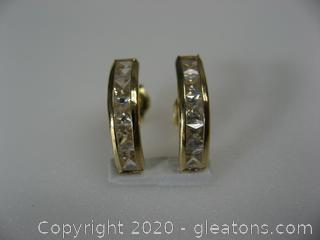 14kt Yellow Gold CZ Earrings